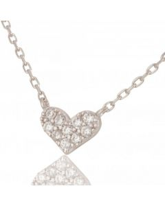 New Sterling Silver Cubic Zirconia Heart Necklace