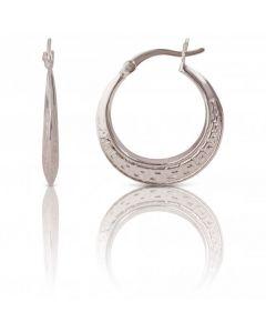 New Sterling Silver Grecian Greek Key Creole Hoop Earrings