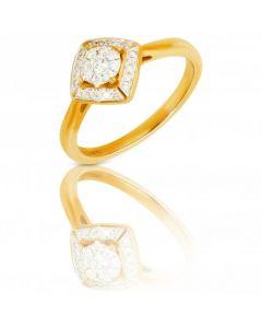 New 9ct Yellow Gold 0.19 Carat Diamond Cluster Ring