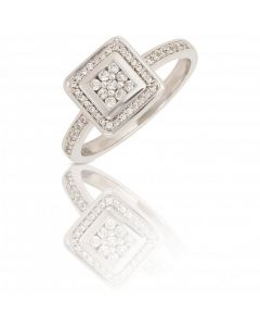 New 9ct White Gold 0.24ct Square Diamond Cluster Ring