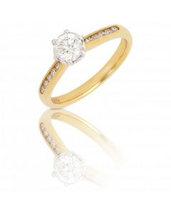 New 9ct Gold 0.65ct Diamond Solitaire Ring and Diamond Shoulders