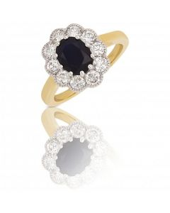 New 9ct Yellow & White Gold Sapphire & Diamond Oval Cluster Ring