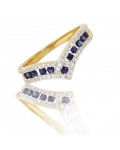 New 9ct Yellow Gold Sapphire & Diamond Wishbone Ring