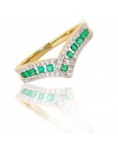 New 9ct Yellow Gold Emerald &Diamond Wishbone Eternity Ring