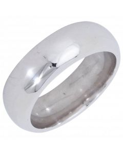 Pre-Owned 18ct White Gold 7mm D-Shape Wedding Band Ring
