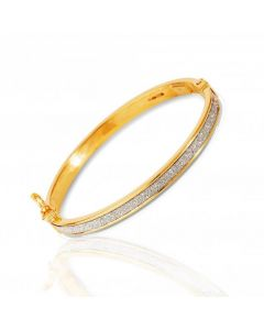 New 9ct Yellow Gold Moondust Oval Hinged Baby Bangle