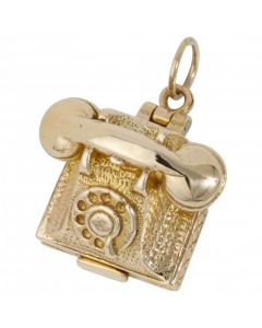 Pre-Owned 9ct Yellow Gold Opening Telephone Charm