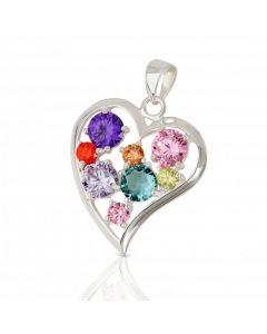 New Silver Multicoloured Cubic Zirconia Heart Pendant