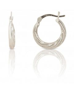 New Sterling Silver 17mm Textured Finish Creole Earrings