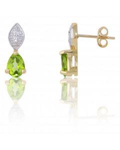 New 9ct Gold Peridot & Diamond Stud Earrings