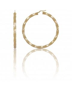 New 9ct Yellow Gold 60mm Pattern Twisted Creole Hoop Earrings