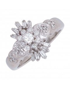Pre-Owned 9ct White Gold Mixed Cut Diamond Cluster Ring