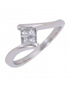 Pre-Owned 18ct White Gold 0.15 Carat Diamond 4 Stone Twist Ring