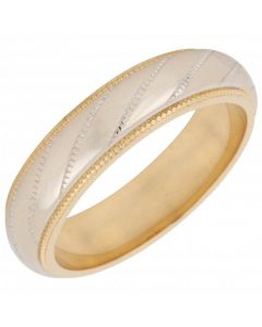 Pre-Owned 18ct Yellow & White Gold 5mm Patterned Wedding Ring