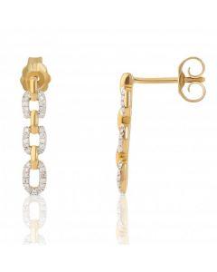 New 9ct Yellow Gold Diamond Set Brick Link Earrings