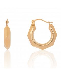 New 9ct Yellow Gold Medium Faceted Creole Hoop Earrings