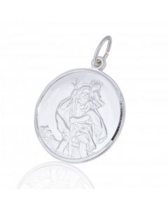 New Sterling Silver Reversible Round St Christopher Pendant