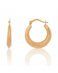 New 9ct Yellow Gold Patterned Round Hoop Earrings
