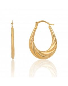 New 9ct Yellow Gold Oval Twisted Creole Hoop Earrings