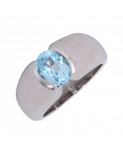 Pre-Owned 9ct White Gold Blue Gemstone Solitaire Band Ring