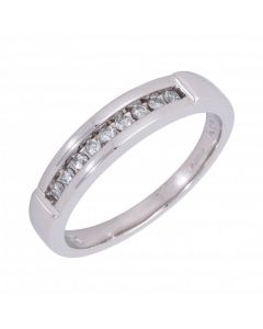 Pre-Owned 9ct White Gold 0.25 Carat Diamond Set Band Ring