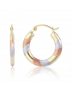 New 9ct Three Colour Gold Satin & Polished Round Creole Earrings