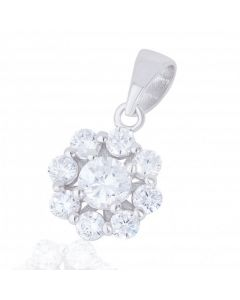 New Sterling Silver Cubic Zirconia Flower Pendant