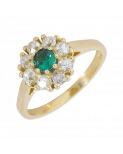 New 18ct Yellow Gold Emerald & Diamond Cluster Ring