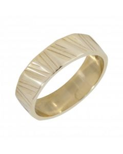 Pre-Owned 9ct Yellow Gold 5mm Patterned Wedding Band Ring