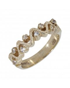 Pre-Owned 9ct Yellow Gold Cubic Zirconia Wave Dress Ring
