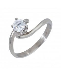 Pre-Owned 14ct White Gold Cubic Zirconia Solitaire Twist Ring