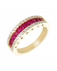 New 18ct Yellow Gold Ruby & Diamond Eternity Band Ring