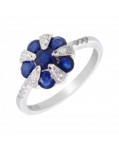 New 14ct White Gold Sapphire & Diamond Vintage Style Ring