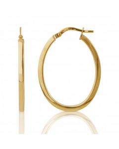 New 9ct Yellow Gold Polished Oval Creole Hoop Earrings