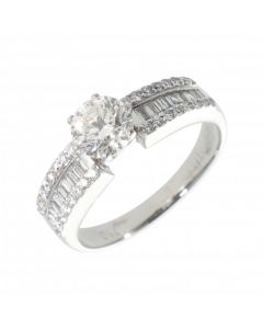 Pre-Owned 18ct Gold Mixed Cut Diamond Solitaire & Band Ring