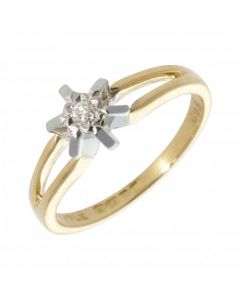 Pre-Owned 9ct Yellow Gold Illusion Set Diamond Solitaire Ring