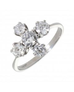 Pre-Owned 18ct White Gold Diamond 5 Stone Dress Ring
