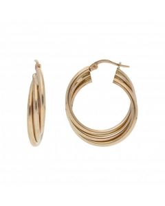 Pre-Owned 9ct Yellow Gold 3 Row Creole Earrings