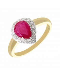 New 9ct Yellow & White Gold Ruby & Diamond Pear Shape Cluster