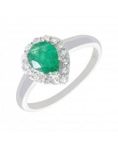 New 9ct White Gold Emerald & Diamond Pear Shape Cluster