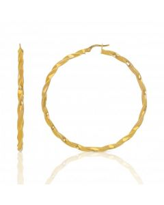 New 9ct Yellow Gold 50mm Twisted & Bead Hoop Earrings