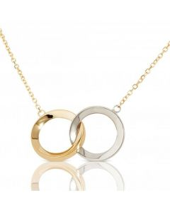 New 9ct Yellow & White Gold Entwined Rings Pendant Necklace