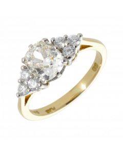 Pre-Owned 18ct Gold Cushion Cut Fancy Diamond Solitaire Ring