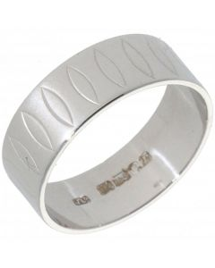 Pre-Owned 18ct White Gold 6mm Patterned Flat Wedding Band Ring