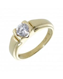 Pre-Owned 9ct Yellow Gold Cubic Zirconia Solitaire Band Ring