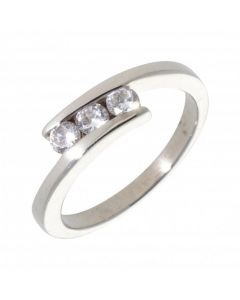 Pre-Owned 9ct White Gold Cubic Zirconia Trilogy Twist Ring