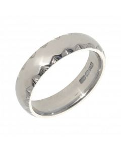 Pre-Owned 9ct White Gold 5mm Patterned Edge Wedding Band Ring