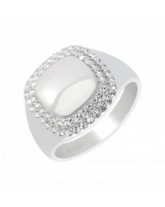 New Sterling Silver Stone Set Rim Cushion Shape Signet Ring