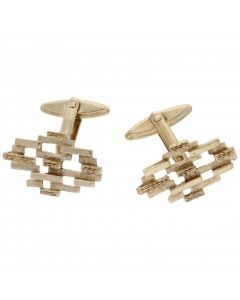 Pre-Owned 9ct Yellow Gold Barked Effect Cufflinks