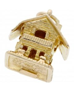Pre-Owned 9ct Yellow Gold Opening Alpine Cabin Charm